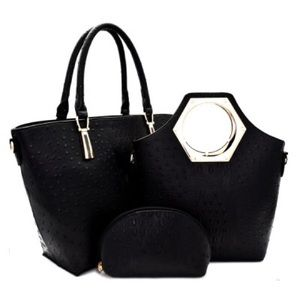 3 Pcs Crocodile Embossed Handbag- Black